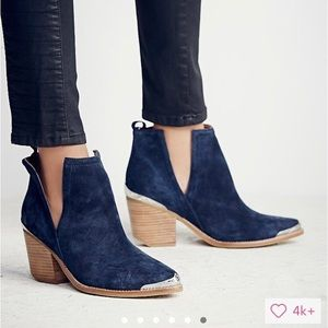 Jeffrey Campbell Cromwell Booties in Navy Suede
